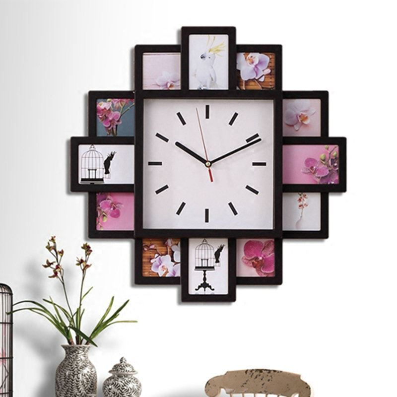 modern simple style creative clock children room living room photo frame wall clock black white. Black Bedroom Furniture Sets. Home Design Ideas