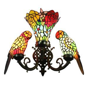 Tiffany Wall Light European Pastoral Retro Style Glass Parrot and Glass Flowers Shade Bedroom Living Room Dining Room Light 3 Lights