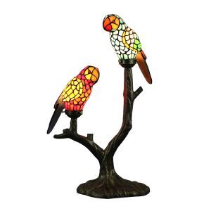 Tiffany Table Lamp Parrot Lampshade European Pastoral Retro Style Glass Bedroom Living Room Dining Room Lamp 2 Lights