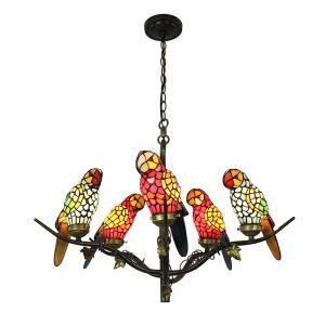 Tiffany Chandelier Glass Parrot Shade European Pastoral Retro Style Bedroom Living Room Dining Room Light 5 Lights