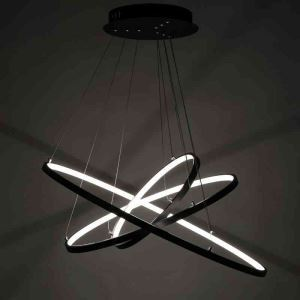 Modern Simple LED Pendant Light Aluminum Black/Gold Decorative Light 3 Circles 80+60+40cm Energy Saving