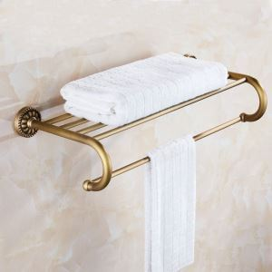 European Antique Copper Towel Rack Towel Bar Bathroom Shelf