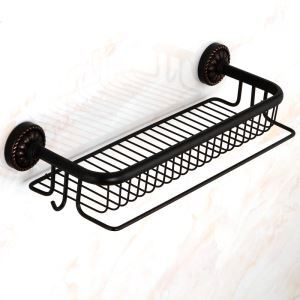 European Black Antique Copper Rack Towel Bar Cosmetic Shelf