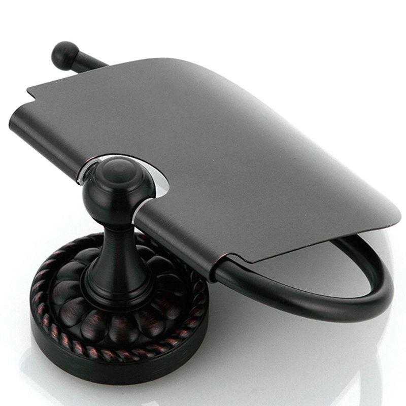Black Ceramic Toilet Brush Holder