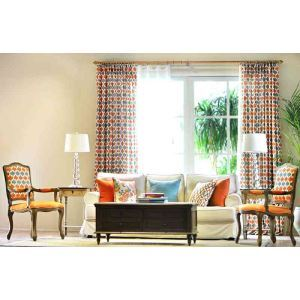 High - Grade American Geometric Lattice Orange Linen Green Living Room Bedroom Window Custom Windows Curtains