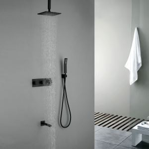 Black Rainfall Shower Fixture with Ceiling Mount Shower Head Hand Shower and Tube Filler
