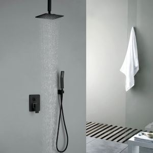 Black Rain Shower + Hand Held Shower Set Solid Brass Rainfall Shower