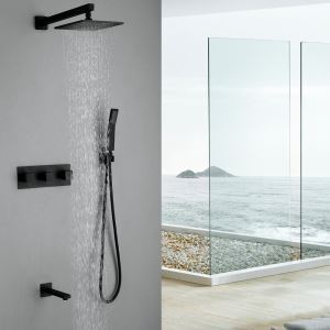Wall Mount Rain Shower System with Hand Shower Tub Mixer Tap and Rain Shower Head