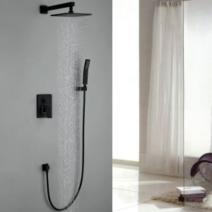 Bathroom Shower Faucet European Copper Black Baking Rain Shower Head+ Hand Shower Set