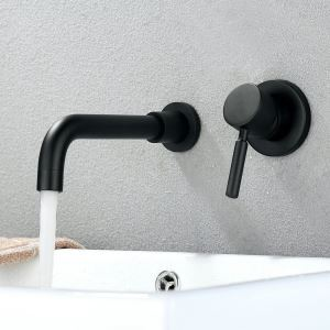 Black Wall Mounted Bathroom Faucet Solid Brass Basin Tap