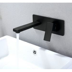 European Retro Faucet Copper Black Baking Paint Craft Wall Mounted Bathroom Faucet Bathtub Faucet 2 Hole Single Handle