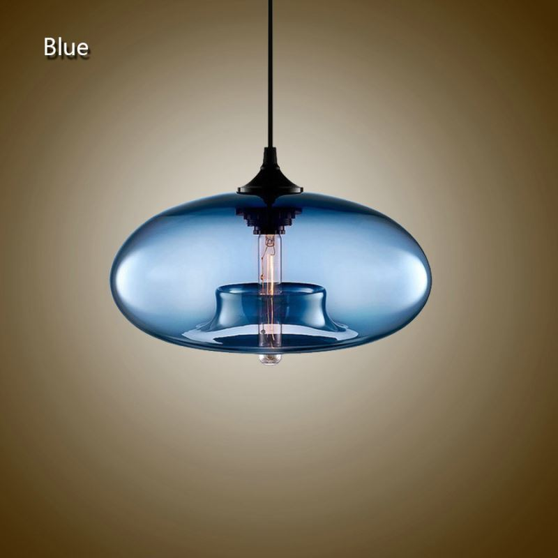 (In Stock) Modern Glass Pendant Lights Colorful Concave