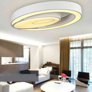 (UK Stock) Modern Simple Flush Mount Fashion LED Dimmable Acrylic White Oval Flush Mount Living Room Bedroom Dining Room Energy Saving