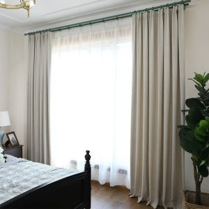 European Pastoral Style Curtain Polyester Solid Color Curtain Blackout Coffee Curtain