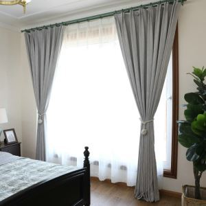 European Pastoral Style Curtain Polyester Solid Color Curtain Blackout Gray Curtain