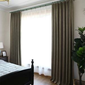 European Pastoral Style Curtain Polyester Solid Color Curtain Blackout Khaki Curtain