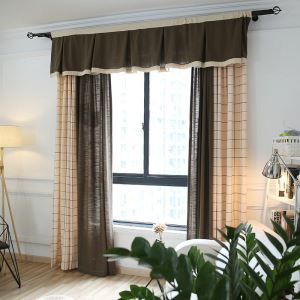 European Pastoral Style Curtain Polyester Cotton And Linen Semi-shading Stitching Lattice Curtains