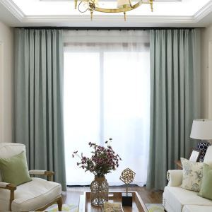 European Pastoral Style Curtain Polyester Blackout Curtain Bedroom Water-blue Curtain