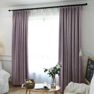 European Pastoral Style Curtain Polyester Blackout Curtain Bedroom Violet Curtain
