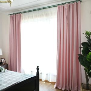 European Pastoral Style Curtain Polyester Blackout Curtains Pink Curtain