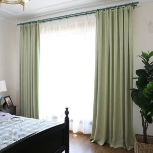 European Pastoral Style Curtain Polyester Natural Blackout Curtain Yellow-green Curtain