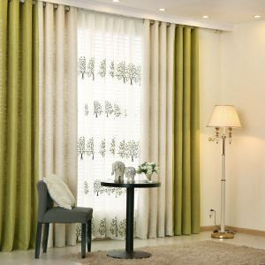 European Pastoral Style Curtain Solid Color Thicken Polyester Stitching Curtains Beige And Green Curtain