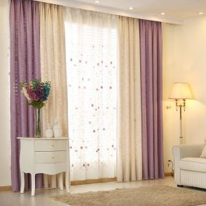 European Pastoral Style Curtain Solid Color Thicken Polyester Stitching Curtains Beige And Purple Curtain