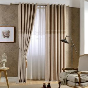 European Pastoral Style Curtain Polyester Solid Color Curtain Coffee Curtain