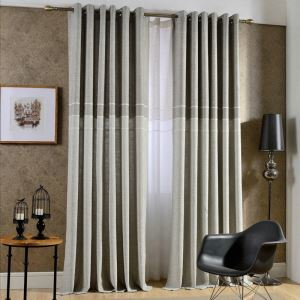 European Pastoral Style Curtain Polyester Solid Color Curtain Gray Curtain