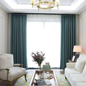 Nordic Cloth Curtain Stripes Chenille Blackout Curtain Water Blue Curtain