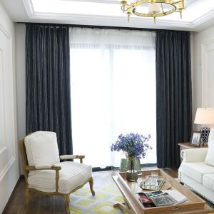 Nordic Cloth Curtain Stripes Chenille Blackout Curtain Navy Blue Curtain