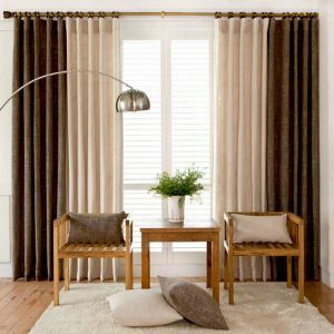European Pastoral Style Curtain Solid Color Thicken Polyester Stitching Curtains Beige And Coffee Curtain