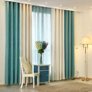 European Pastoral Style Curtain Solid Color Thicken Polyester Stitching Curtains Beige And Blue Curtain
