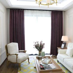 Nordic Cloth Curtain Stripes Chenille Blackout Curtain Purple Curtain