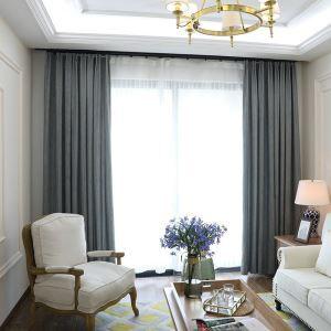 Nordic Cloth Curtain Stripes Chenille Blackout Curtain Cyan Gray Curtain