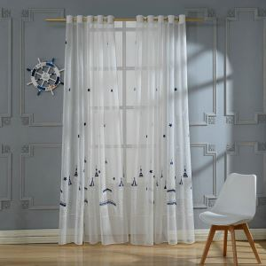 European Pastoral Style Sheer Curtain Polyester Sheer Curtain Embroidery Curtain