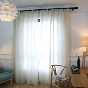 European Pastoral Style Sheer Curtain Polyester Plain Sheer Curtain Hemp Yarn Curtain