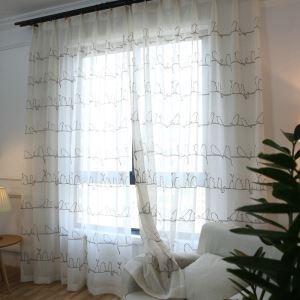 European Pastoral Style Sheer Curtain Polyester Sheer Curtain Embroidery Curtain Bird Embroidery Curtain