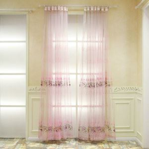 European Pastoral Style Sheer Curtain Polyester Jacquard Embroidery Pattern Pink Sheer Curtain