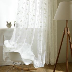 European Pastoral Style Sheer Curtain Polyester Embossed Pattern Sheer Curtain