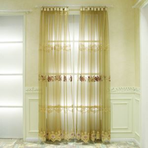 European Pastoral Style Sheer Curtain Polyester Embossed Pattern Coffee Sheer Curtain