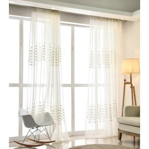 Modern Simple Sheer Curtain Embroidery Curtain Money Tree Pattern Curtain