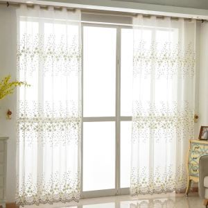 Modern simple Sheer Curtain Embroidery Curtain Osmanthus Pattern Curtain