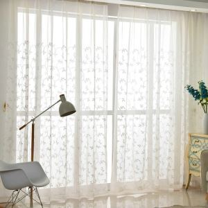 Modern Simple Sheer Curtain Embroidery Curtain Vine Flower Pattern Curtain
