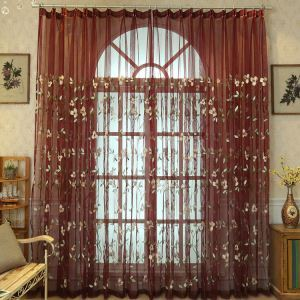 Modern Simple Sheer Curtain Embroidery Curtain Lily Flower Pattern  Curtain