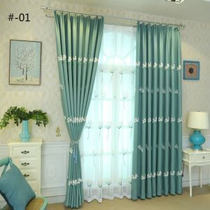 Nordic Simple Sheer Curtain Embroidery Curtain Embroidery Patterns 2 Colors