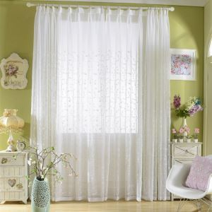 Modern Simple Sheer Curtain Embroidery Curtain White Sprigs Pattern Curtain