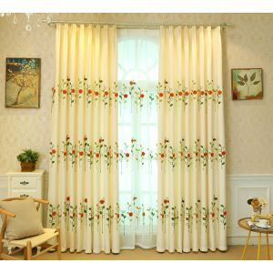 Modern Simple Sheer Curtain Embroidery Curtain Ladybug Grass Pattern Curtain