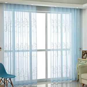 Modern Simple Sheer Curtain Embroidery Curtain White Bamboo Pattern Curtain