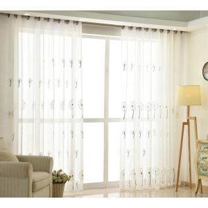 Modern Simple Sheer Curtain Embroidery Curtain Dandelion Pattern Curtain